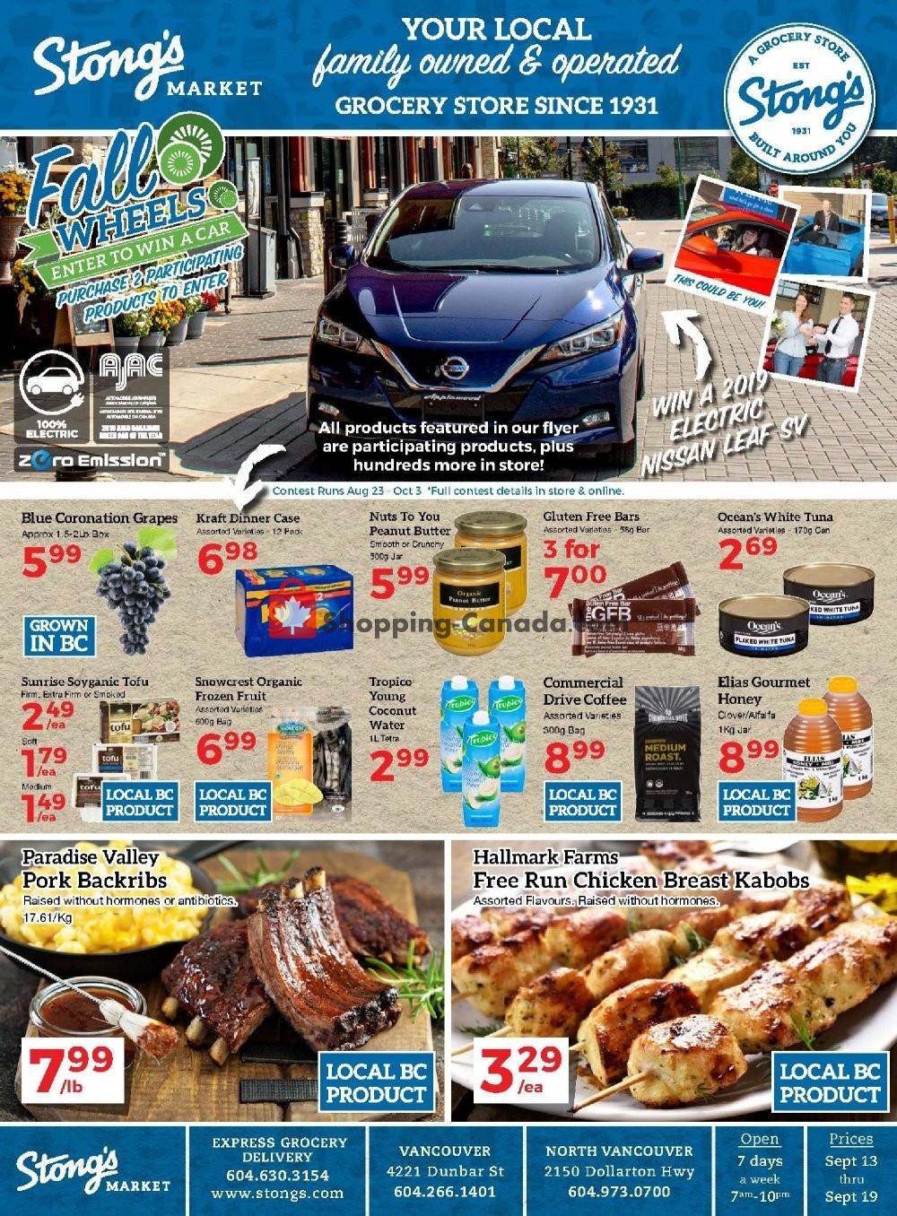 Flyer Stong's Market Canada - from Friday September 13, 2019 to Thursday September 19, 2019