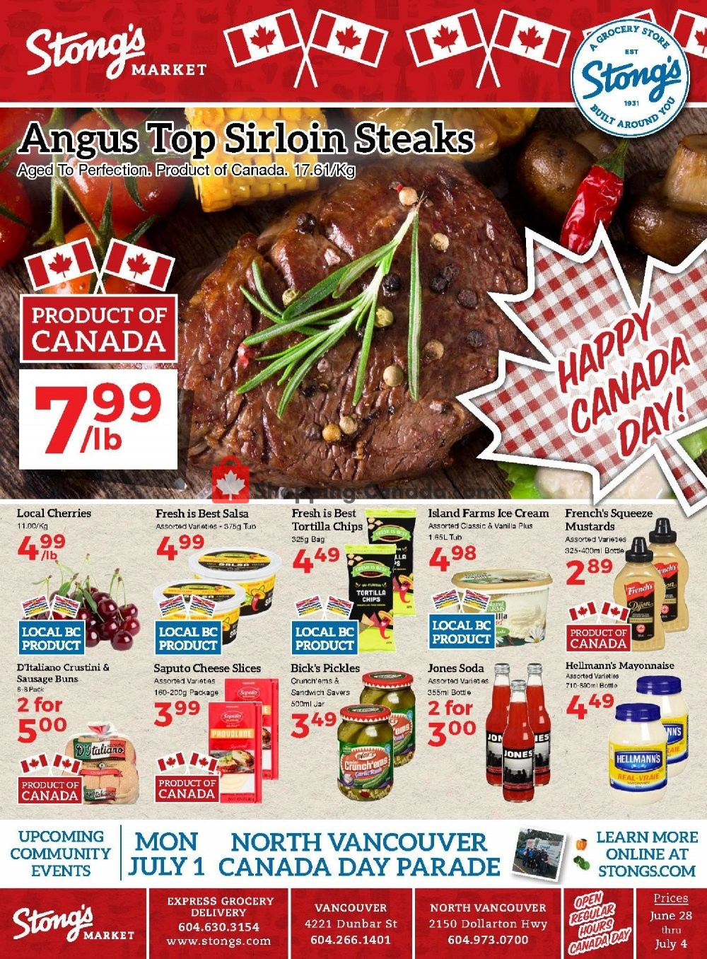 Flyer Stong's Market Canada - from Friday June 28, 2019 to Thursday July 4, 2019