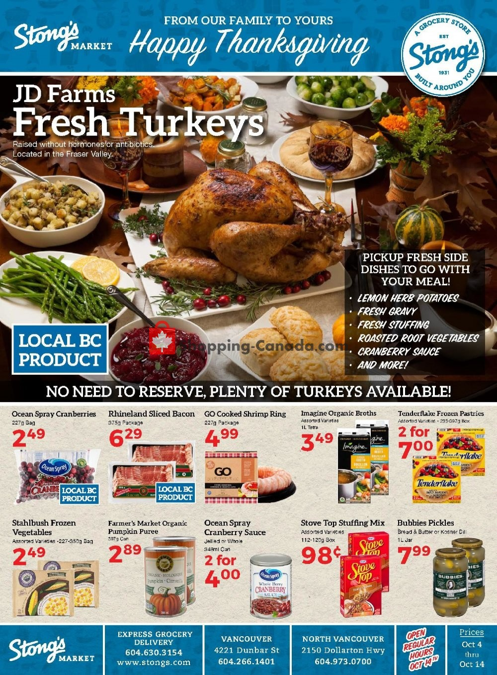 Flyer Stong's Market Canada - from Friday October 4, 2019 to Monday October 14, 2019