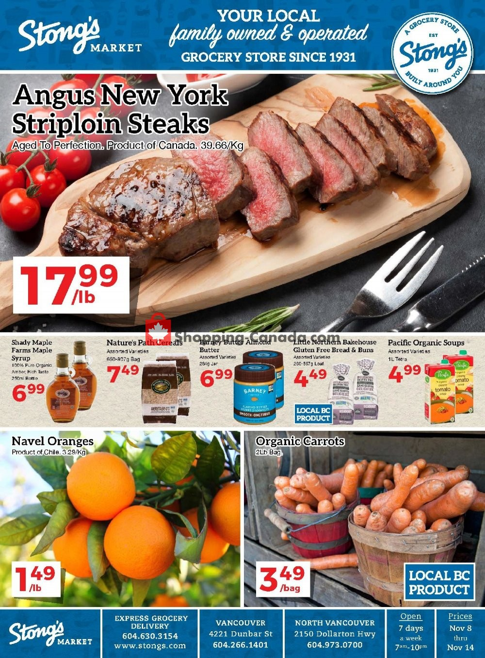 Flyer Stong's Market Canada - from Friday November 8, 2019 to Thursday November 14, 2019