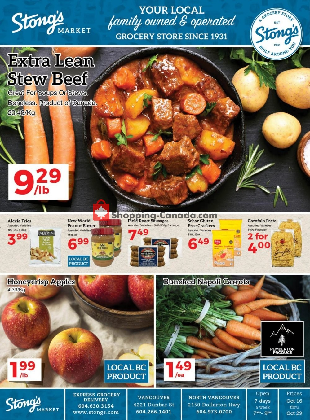 Flyer Stong's Market Canada - from Friday October 16, 2020 to Thursday October 29, 2020