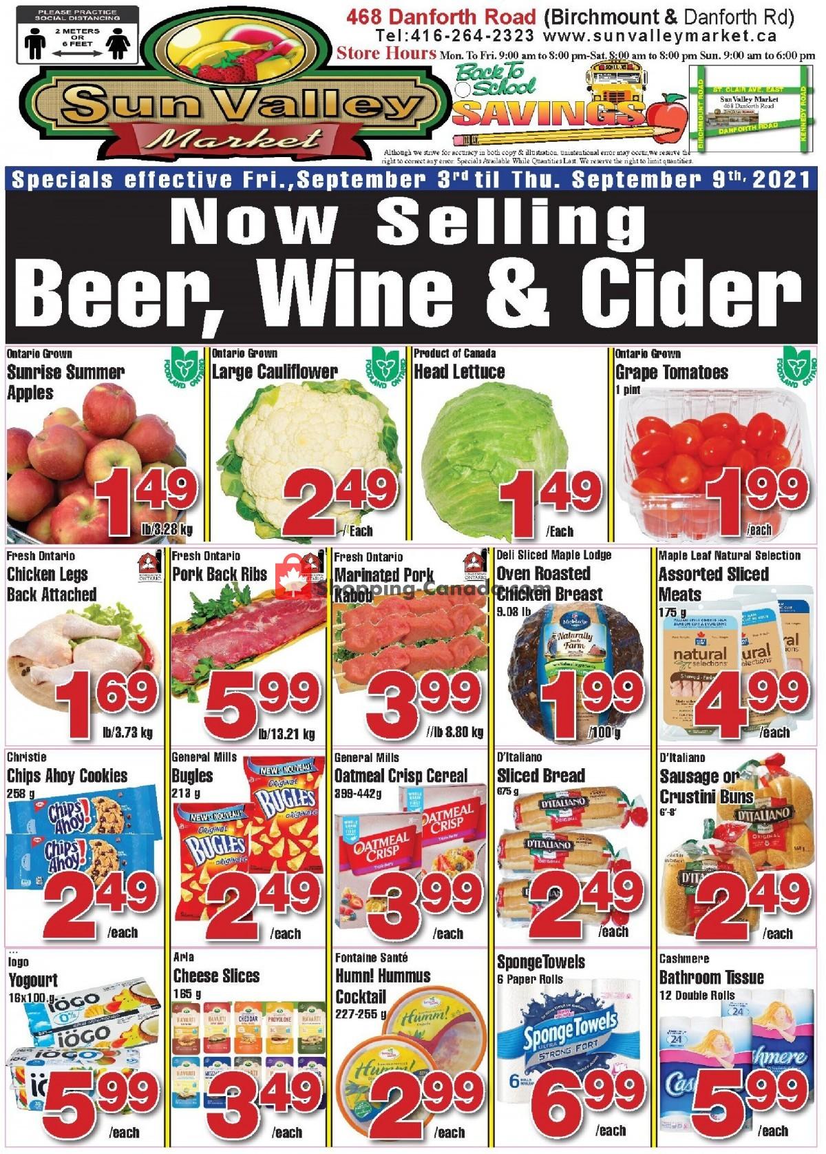 Flyer Sun Valley Market Canada - from Friday September 3, 2021 to Thursday September 9, 2021