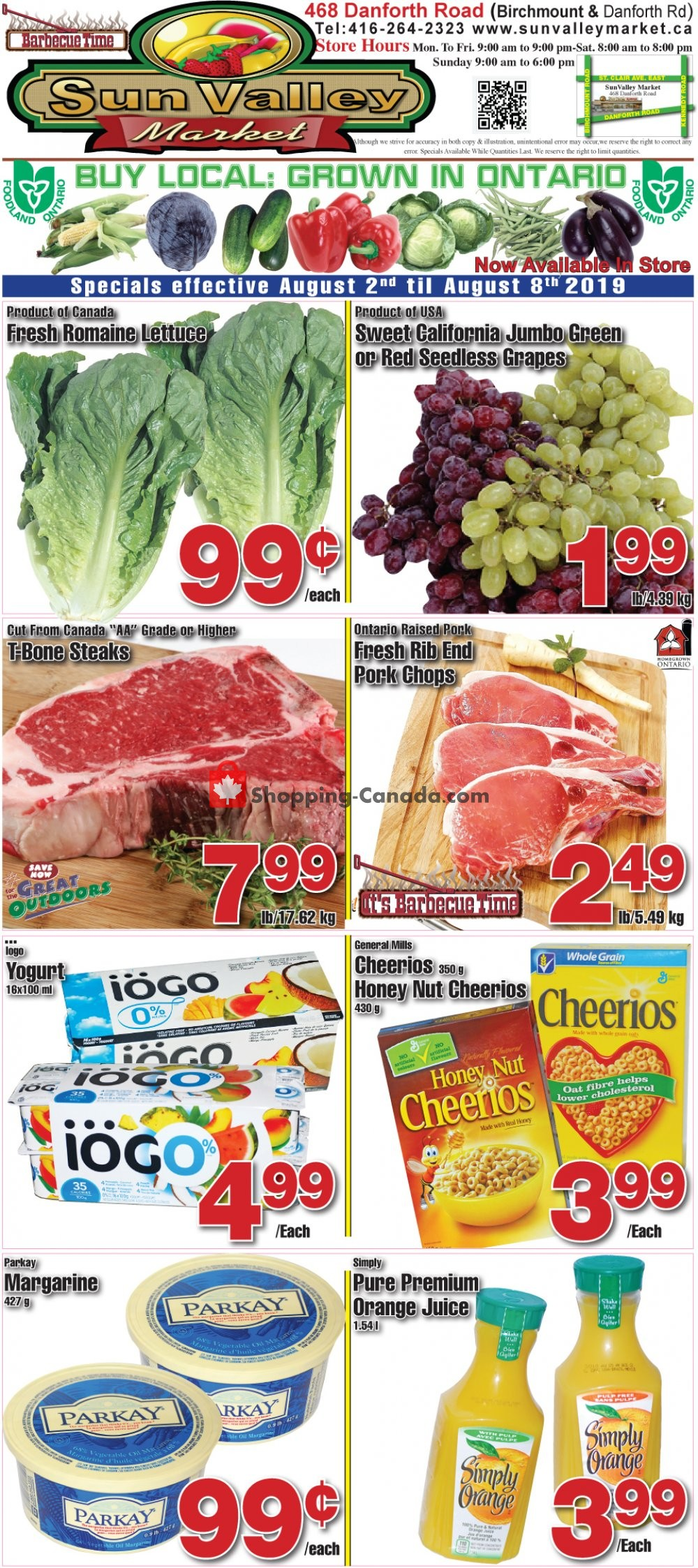 Flyer Sun Valley Market Canada - from Friday August 2, 2019 to Thursday August 8, 2019