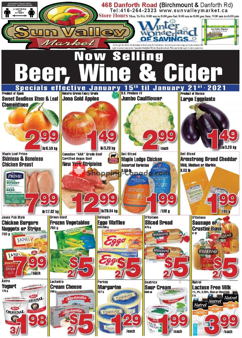 Flyer Sun Valley Market Canada - from Friday January 15, 2021 to Thursday January 21, 2021