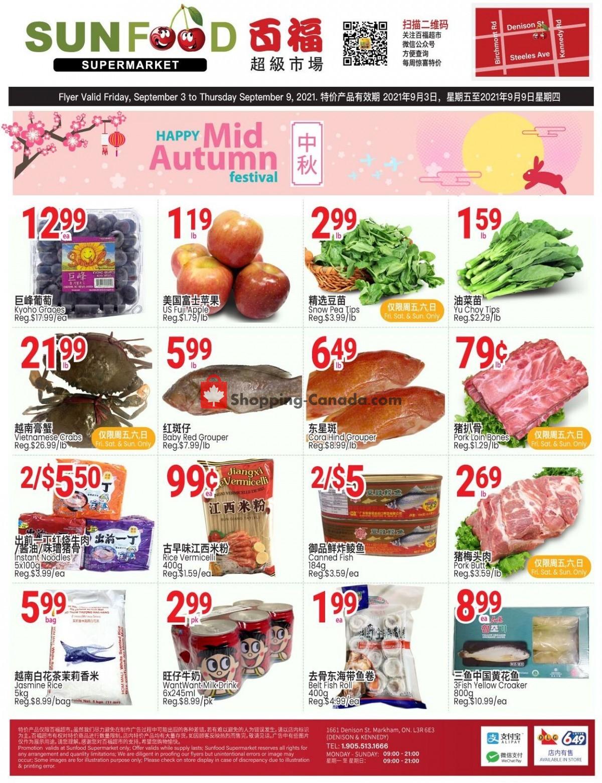 Flyer Sunfood Supermarket Canada - from Friday September 3, 2021 to Thursday September 9, 2021