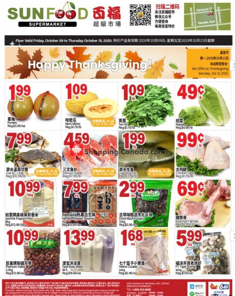 Flyer Sunfood Supermarket Canada - from Friday October 9, 2020 to Thursday October 15, 2020