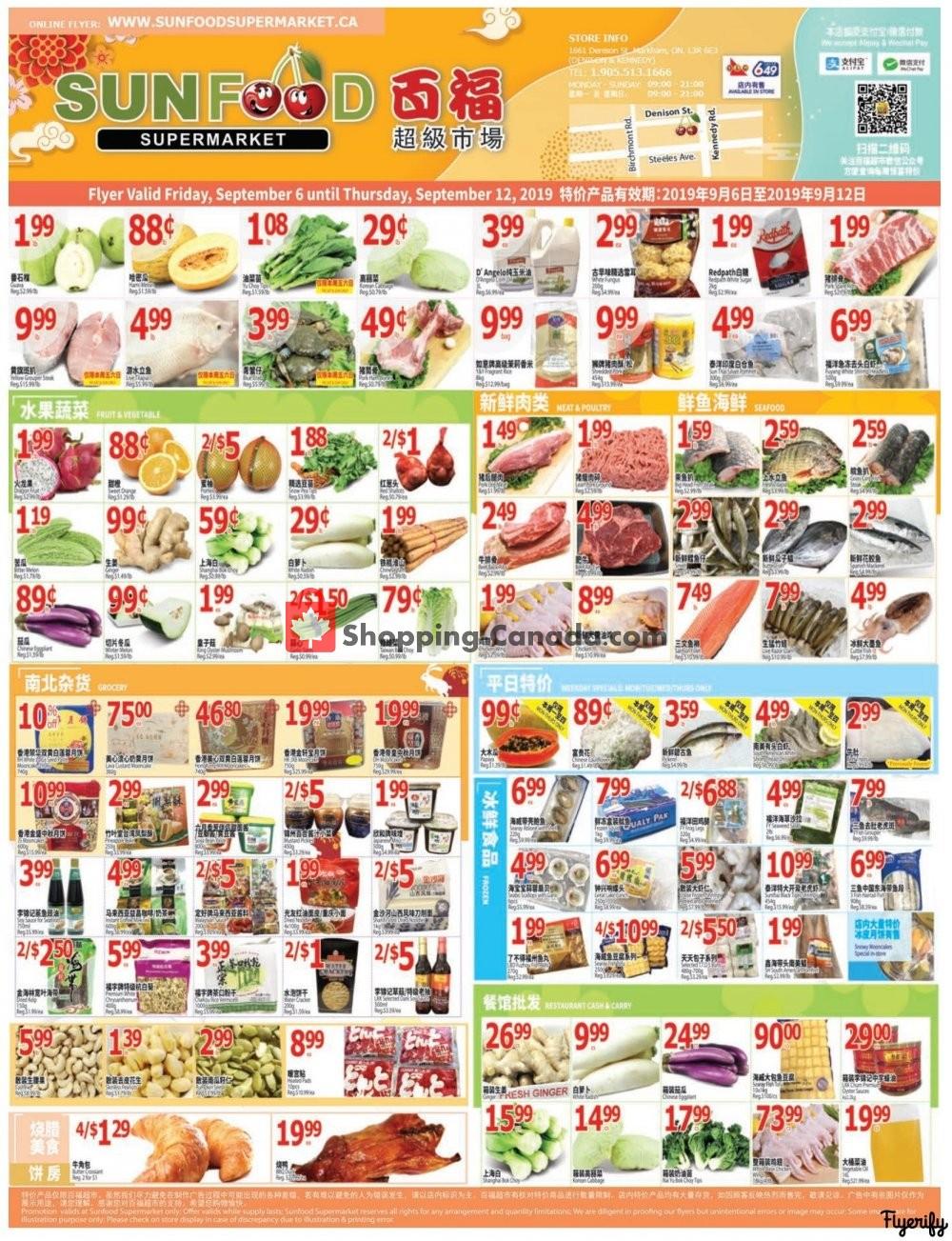 Flyer Sunfood Supermarket Canada - from Friday September 6, 2019 to Thursday September 12, 2019