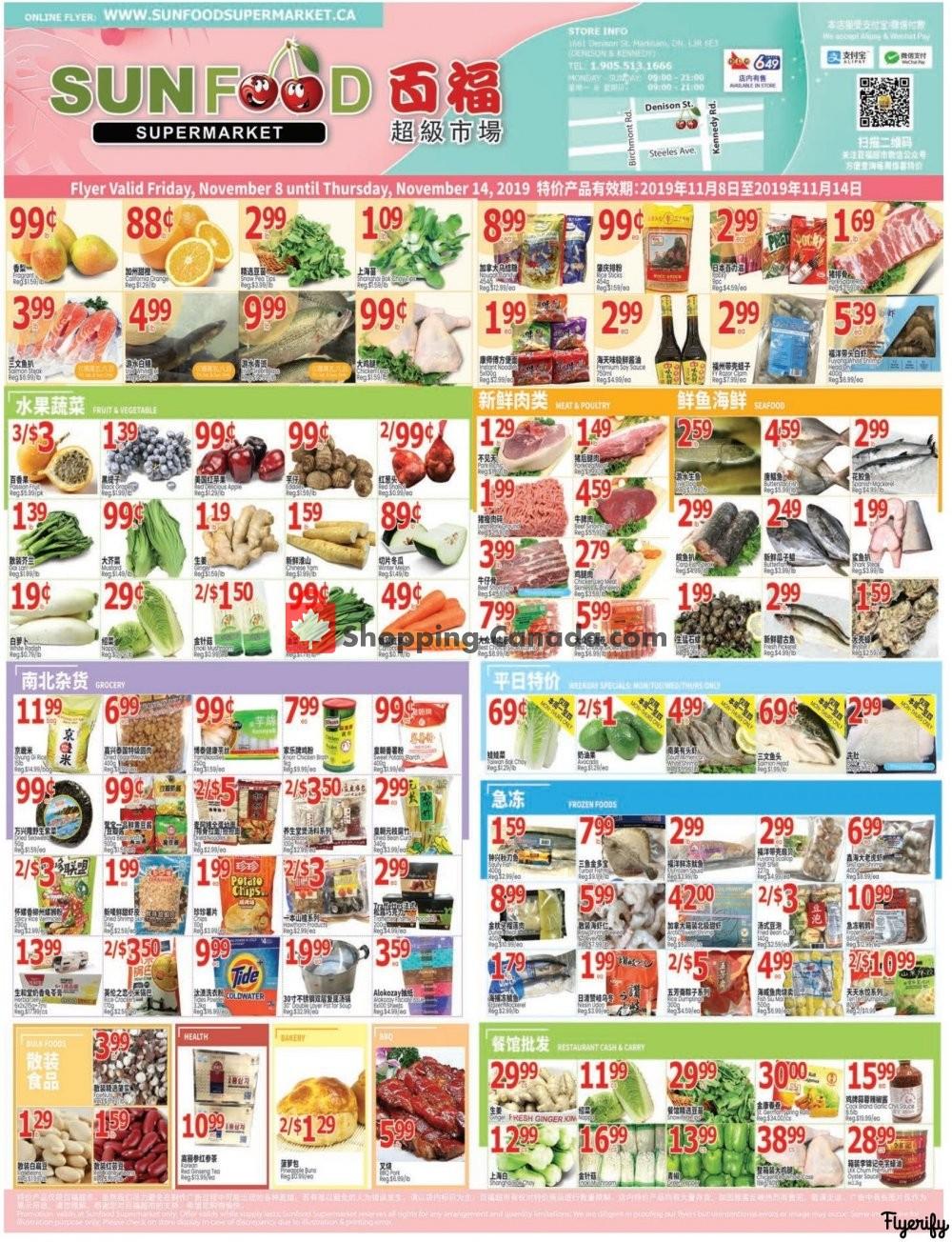 Flyer Sunfood Supermarket Canada - from Friday November 8, 2019 to Thursday November 14, 2019