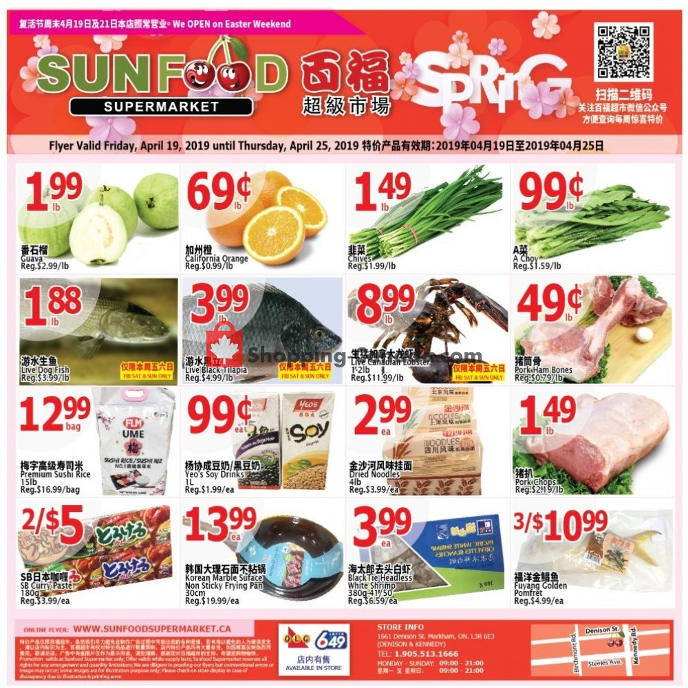 Flyer Sunfood Supermarket Canada - from Friday April 19, 2019 to Thursday April 25, 2019