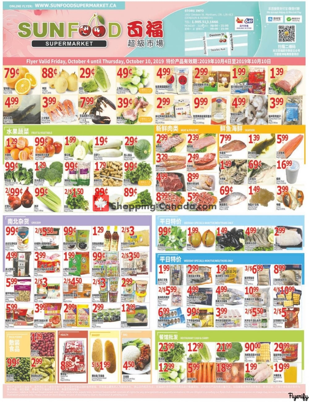 Flyer Sunfood Supermarket Canada - from Friday October 4, 2019 to Thursday October 10, 2019