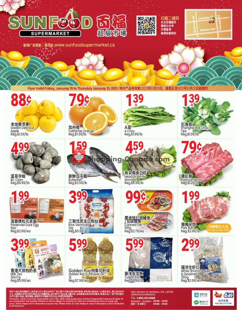 Flyer Sunfood Supermarket Canada - from Friday January 15, 2021 to Thursday January 21, 2021