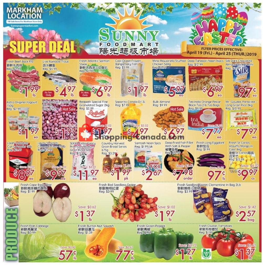 Flyer Sunny Foodmart Canada - from Friday April 19, 2019 to Thursday April 25, 2019