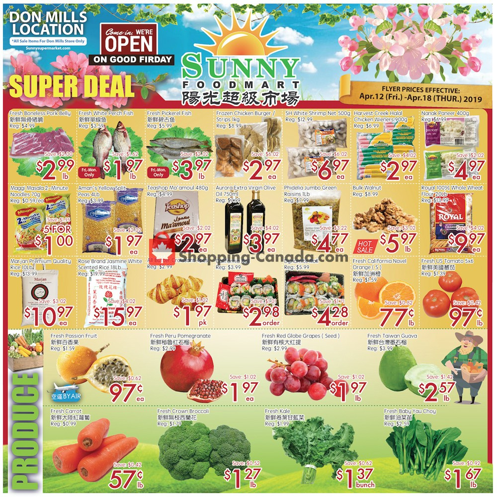 Flyer Sunny Foodmart Canada - from Friday April 12, 2019 to Thursday April 18, 2019