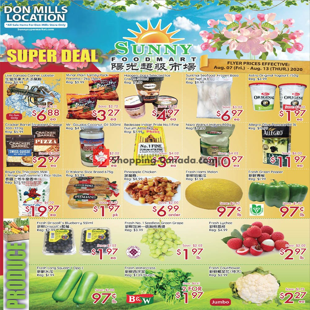 Flyer Sunny Foodmart Canada - from Friday August 7, 2020 to Thursday August 13, 2020