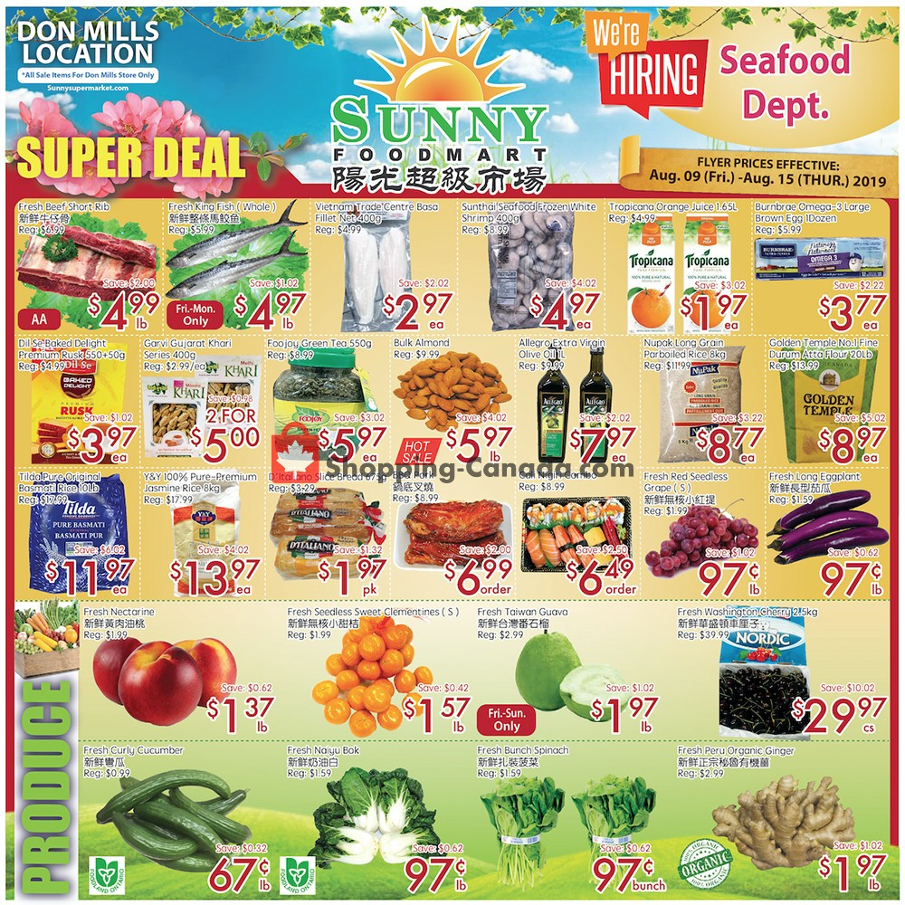 Flyer Sunny Foodmart Canada - from Friday August 9, 2019 to Thursday August 15, 2019