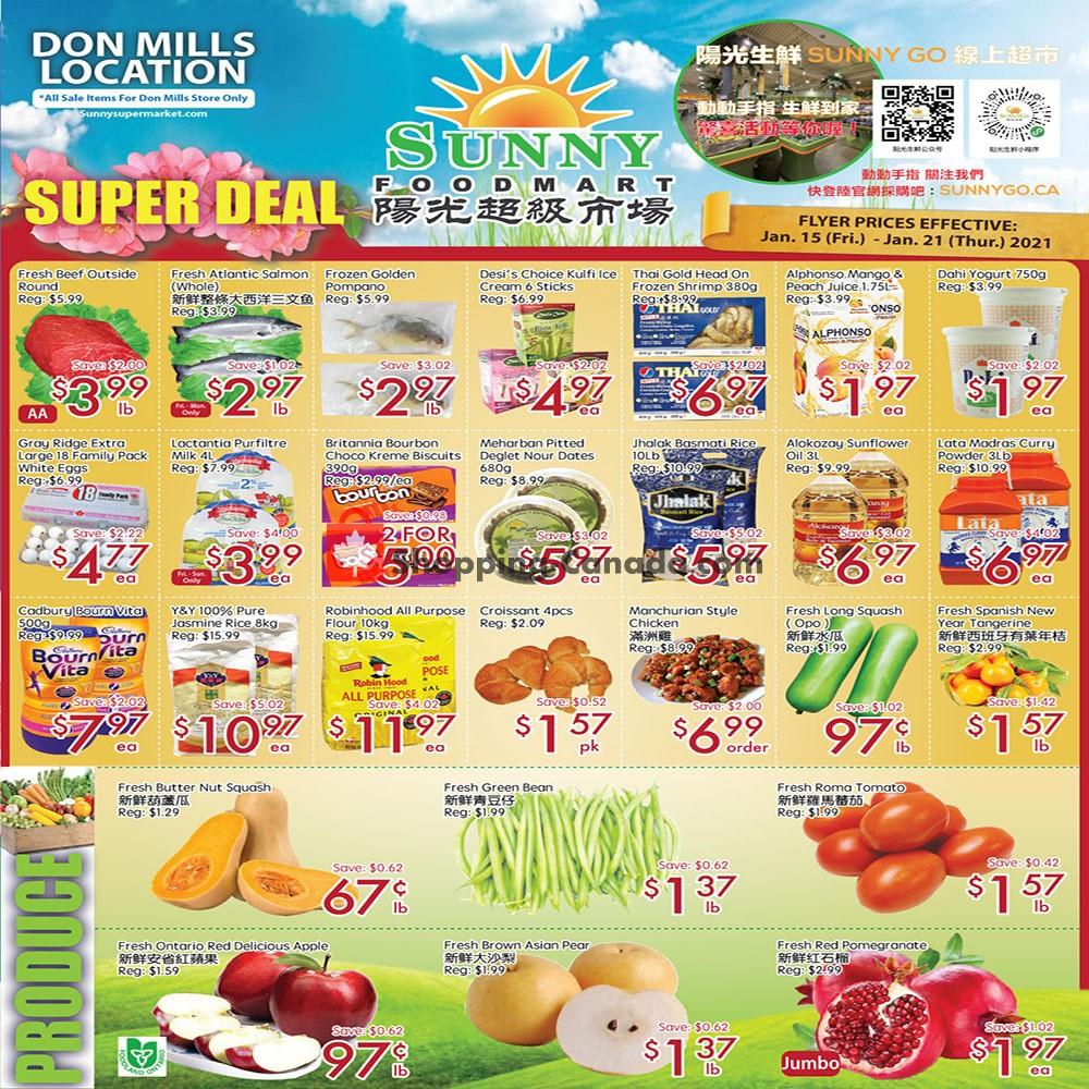 Flyer Sunny Foodmart Canada - from Friday January 15, 2021 to Thursday January 21, 2021
