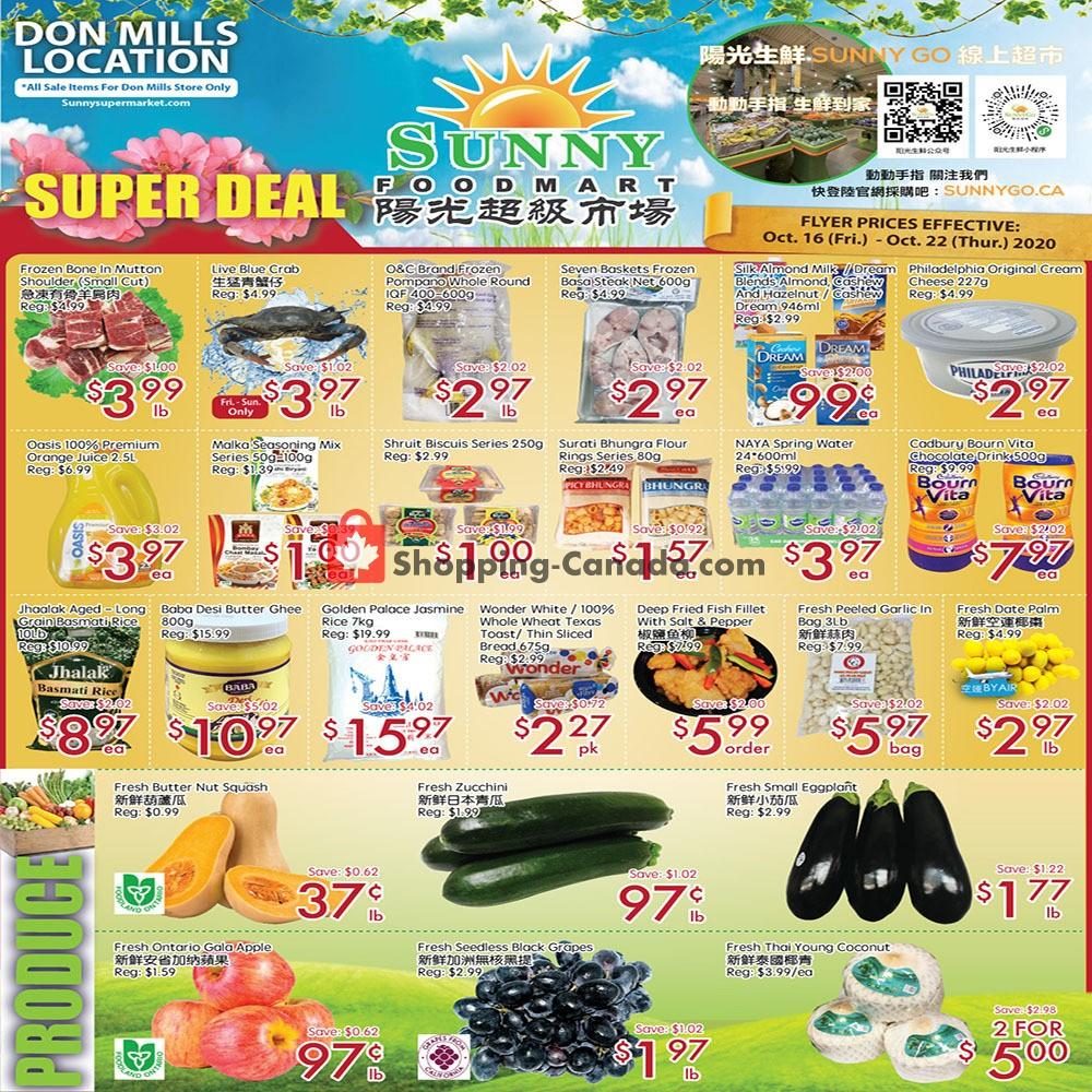 Flyer Sunny Foodmart Canada - from Friday October 16, 2020 to Thursday October 22, 2020
