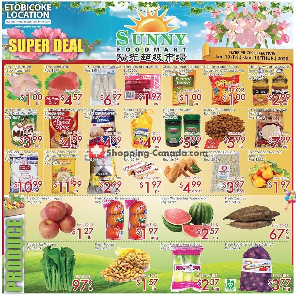 Flyer Sunny Foodmart Canada - from Friday January 10, 2020 to Thursday January 16, 2020
