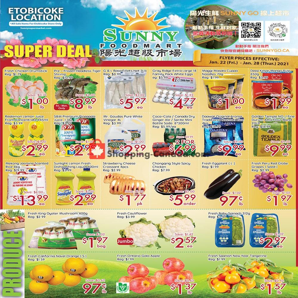 Flyer Sunny Foodmart Canada - from Friday January 22, 2021 to Thursday January 28, 2021