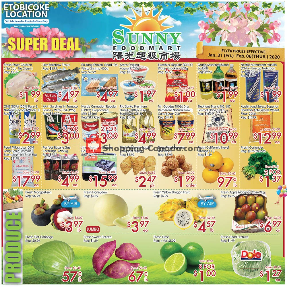Flyer Sunny Foodmart Canada - from Friday January 31, 2020 to Thursday February 6, 2020