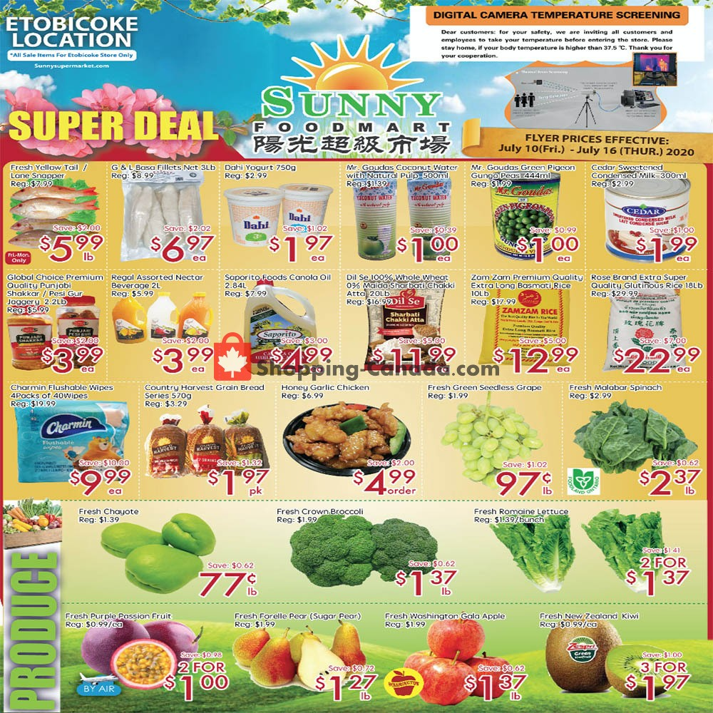 Flyer Sunny Foodmart Canada - from Friday July 10, 2020 to Thursday July 16, 2020