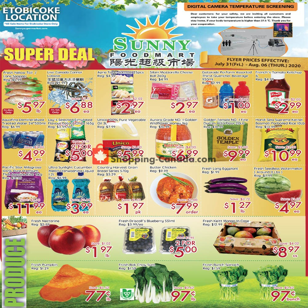 Flyer Sunny Foodmart Canada - from Friday July 31, 2020 to Thursday August 6, 2020