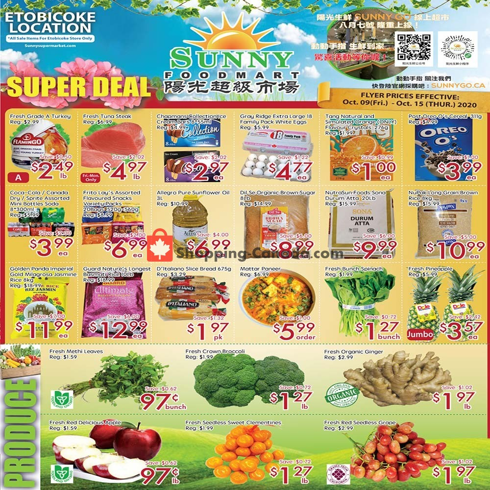 Flyer Sunny Foodmart Canada - from Friday October 9, 2020 to Thursday October 15, 2020