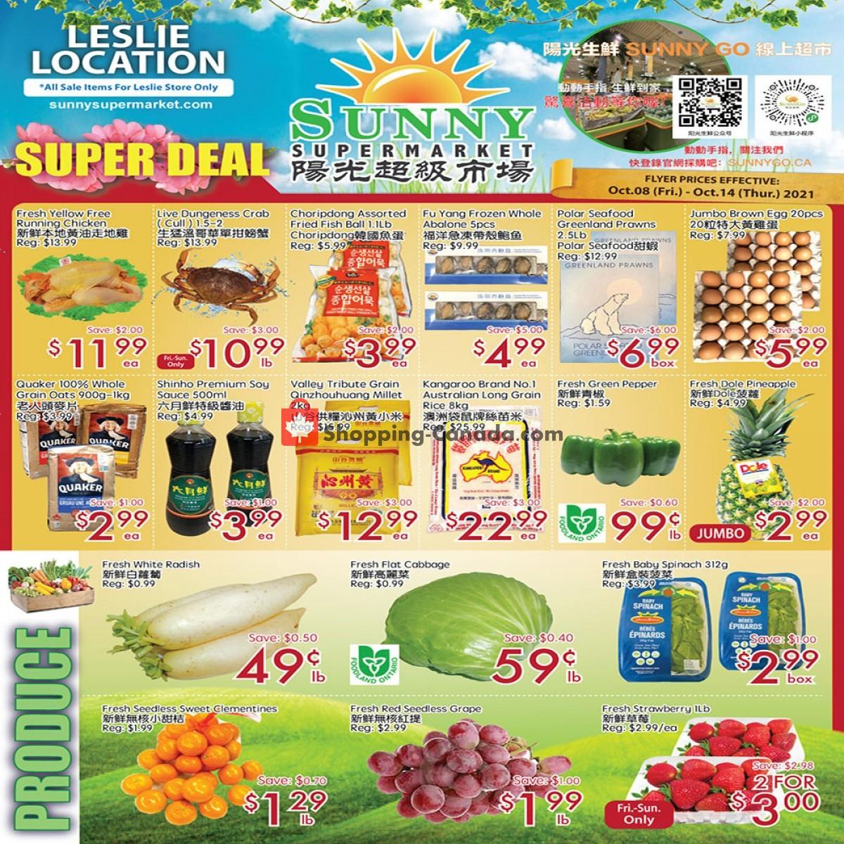 Flyer Sunny Foodmart Canada - from Friday October 8, 2021 to Thursday October 14, 2021