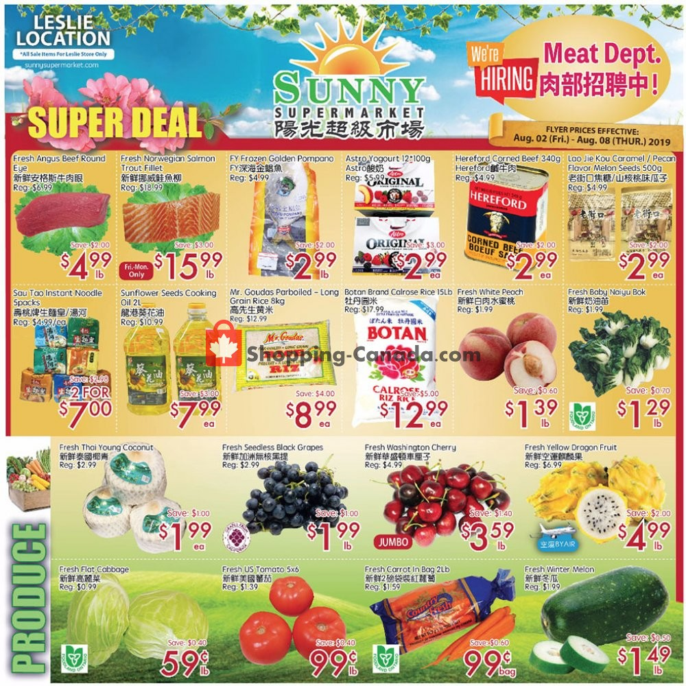 Flyer Sunny Foodmart Canada - from Friday August 2, 2019 to Thursday August 8, 2019
