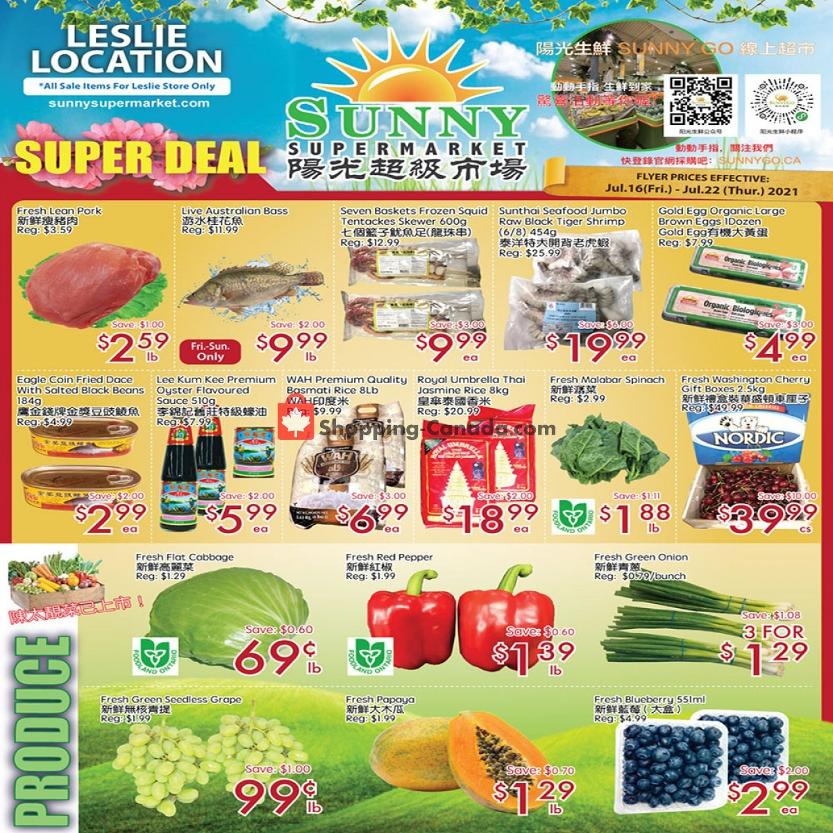 Flyer Sunny Foodmart Canada - from Friday July 16, 2021 to Thursday July 22, 2021