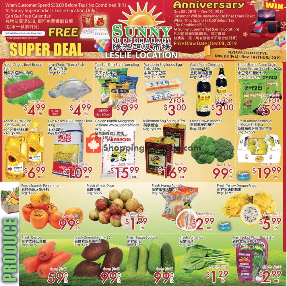 Flyer Sunny Foodmart Canada - from Friday November 8, 2019 to Thursday November 14, 2019