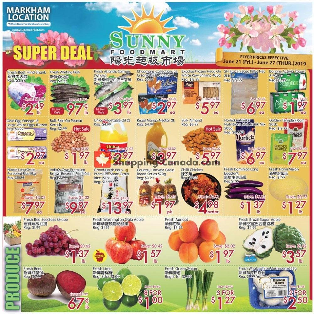 Flyer Sunny Foodmart Canada - from Friday June 21, 2019 to Thursday June 27, 2019