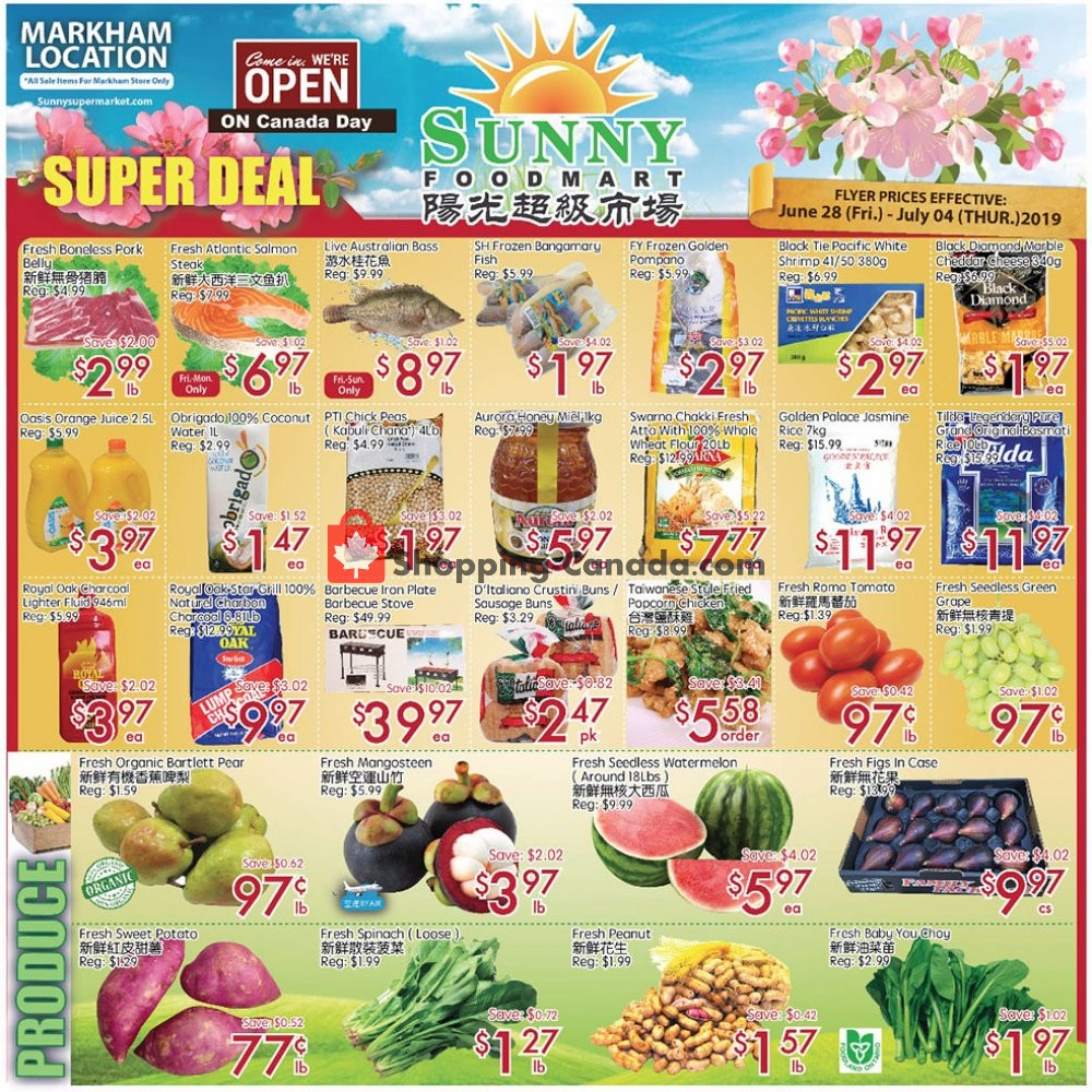 Flyer Sunny Foodmart Canada - from Friday June 28, 2019 to Thursday July 4, 2019