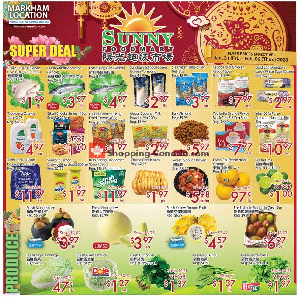 Flyer Sunny Foodmart Canada - from Friday January 31, 2020 to Thursday February 6, 2020