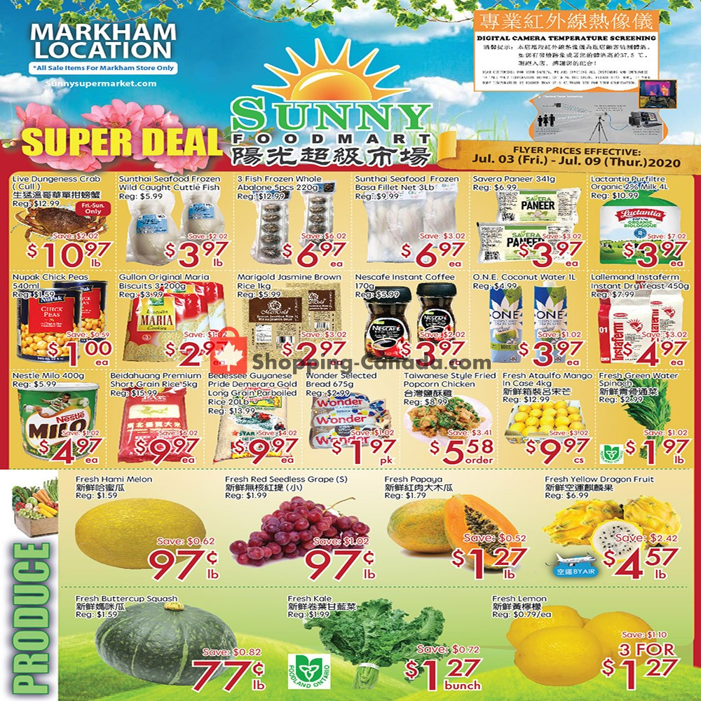 Flyer Sunny Foodmart Canada - from Friday July 3, 2020 to Thursday July 9, 2020