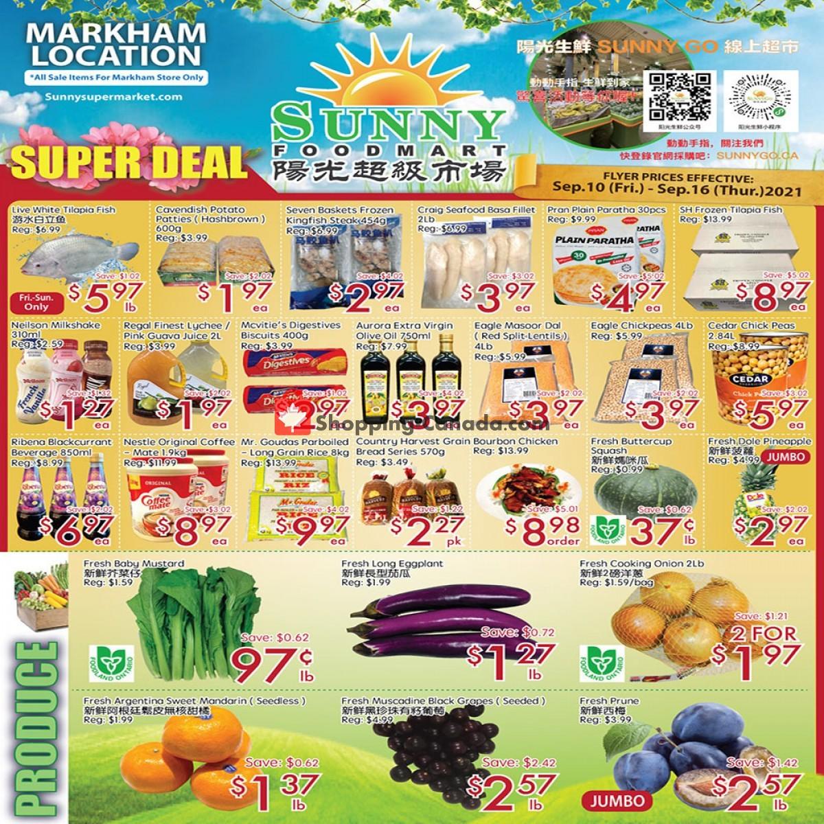 Flyer Sunny Foodmart Canada - from Friday September 10, 2021 to Thursday September 16, 2021