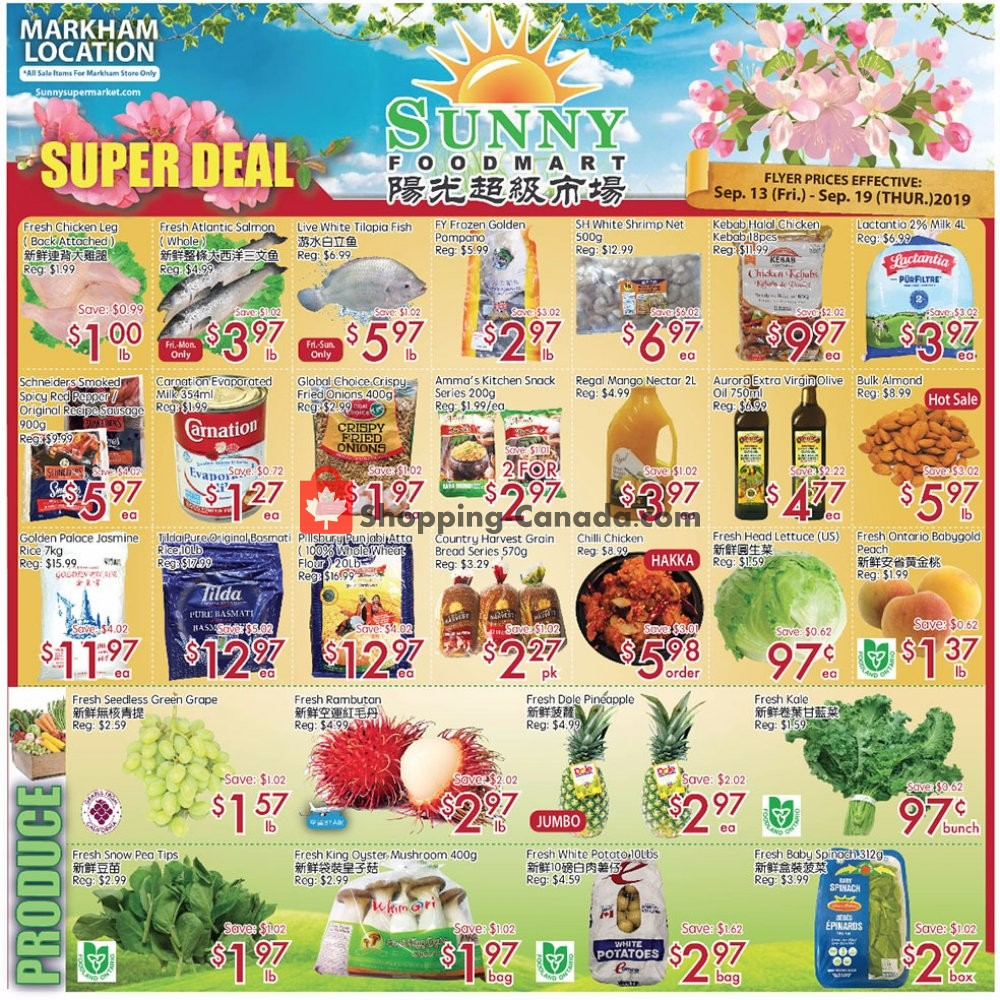 Flyer Sunny Foodmart Canada - from Friday September 13, 2019 to Thursday September 19, 2019