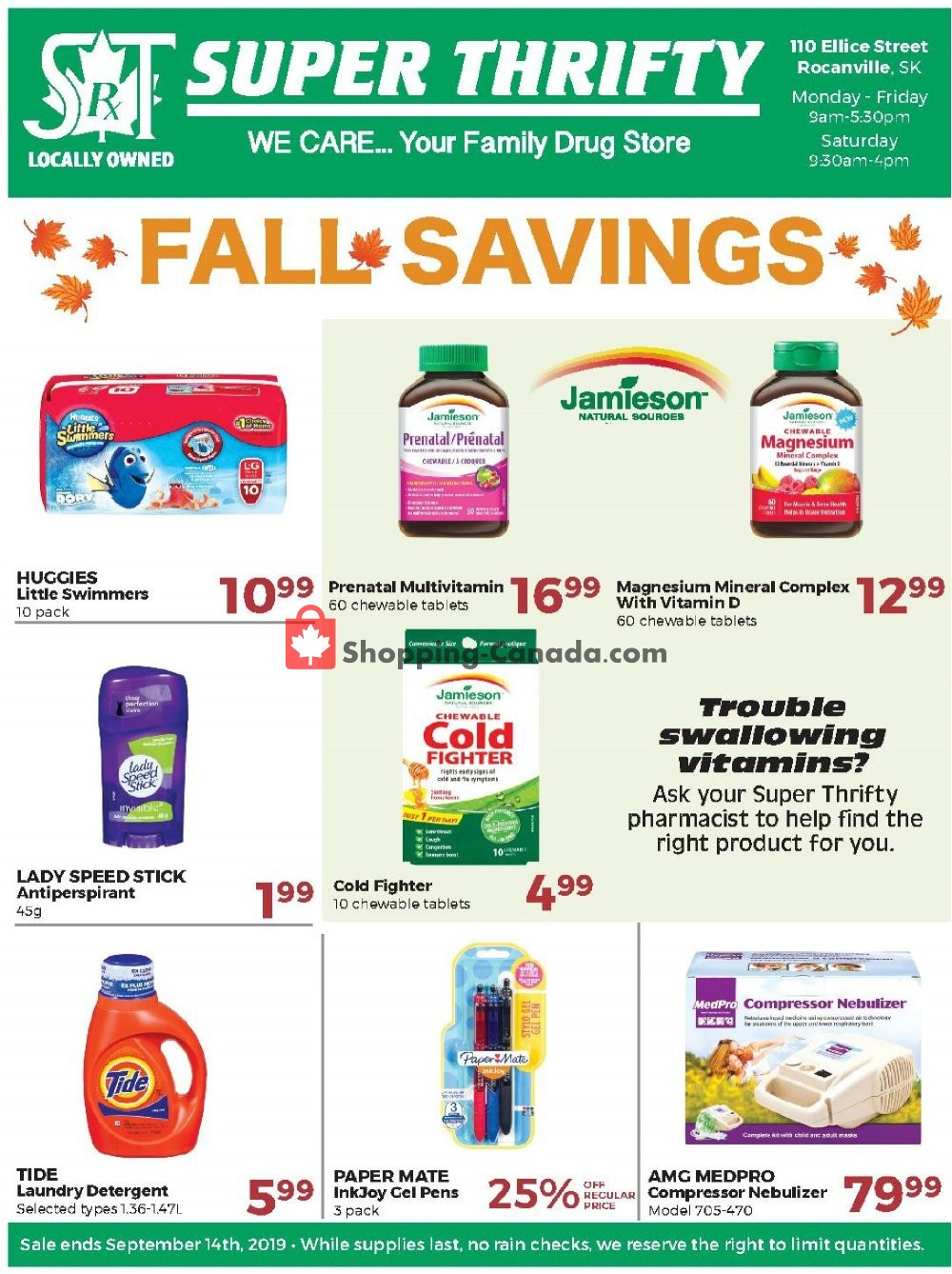 Flyer Super Thrifty Canada - from Wednesday September 4, 2019 to Saturday September 14, 2019