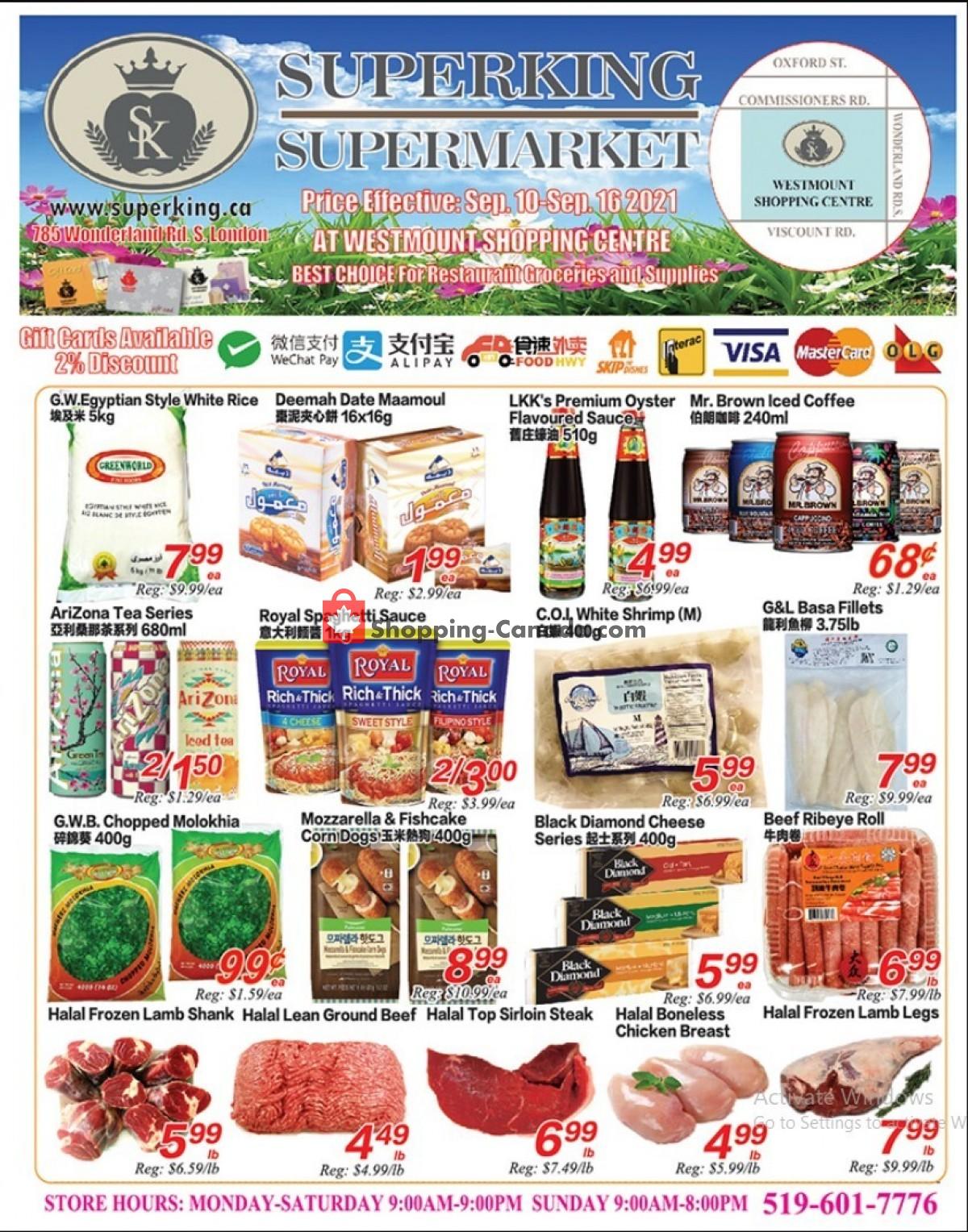 Flyer SuperKing Super Market Canada - from Friday September 10, 2021 to Thursday September 16, 2021