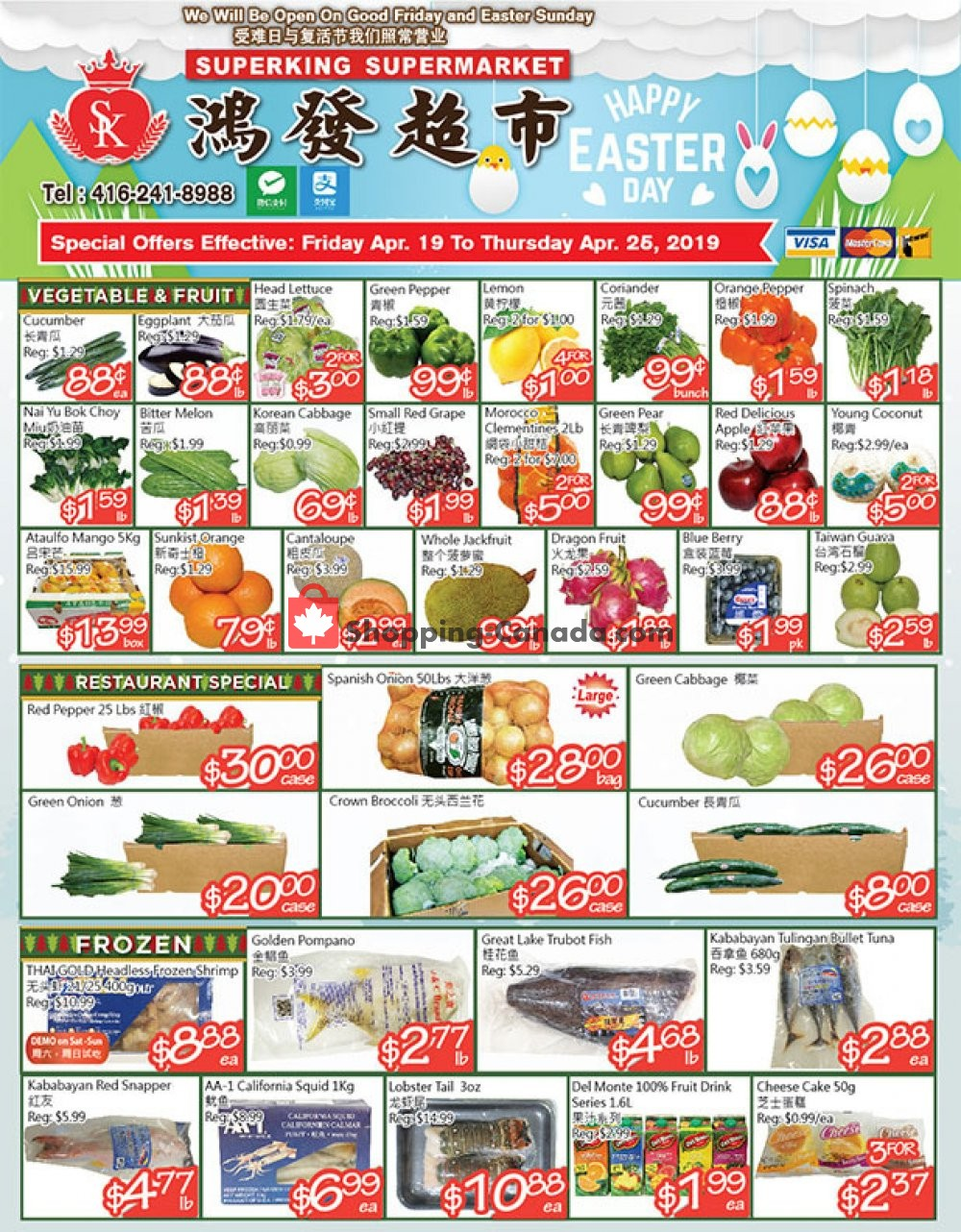 Flyer SuperKing Super Market Canada - from Friday April 19, 2019 to Thursday April 25, 2019