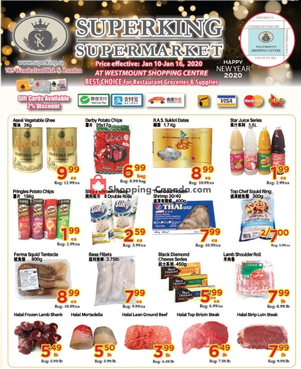 Flyer SuperKing Super Market Canada - from Friday January 10, 2020 to Thursday January 16, 2020