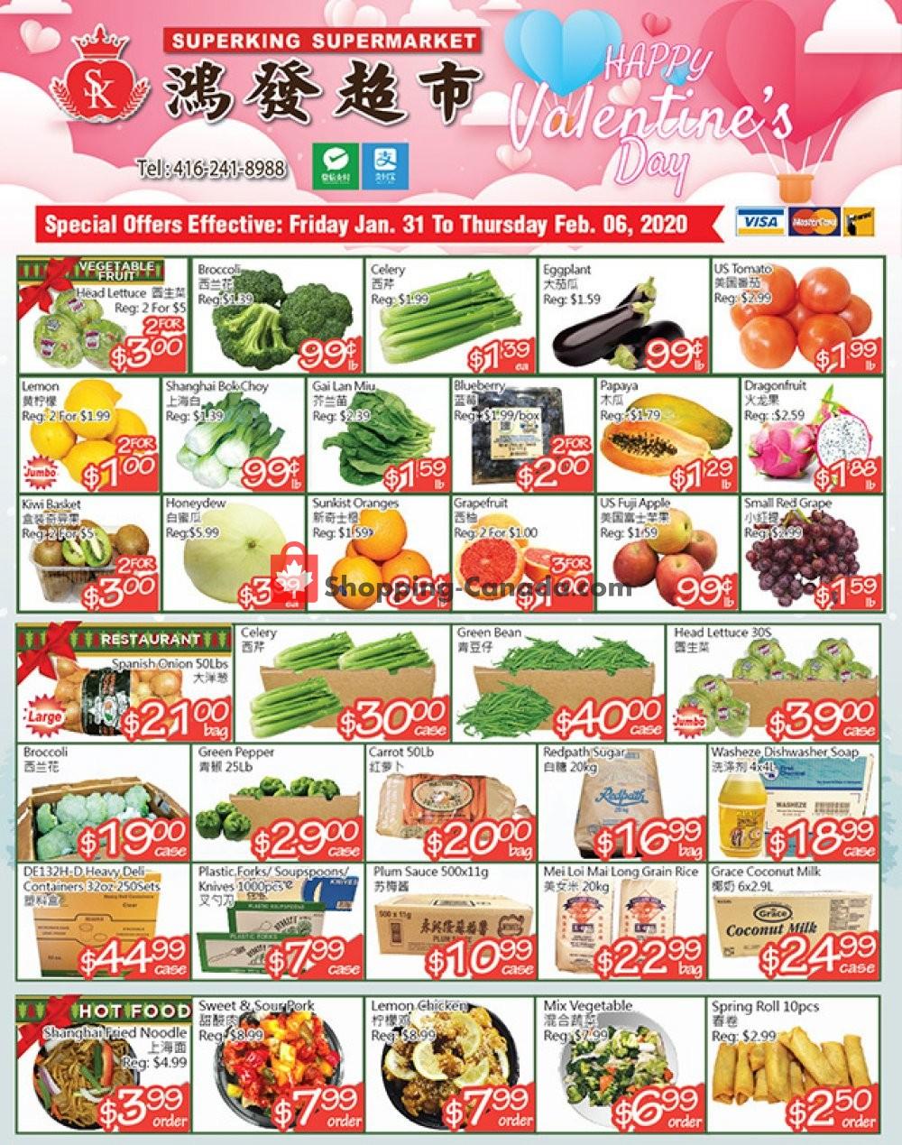 Flyer SuperKing Super Market Canada - from Friday January 31, 2020 to Thursday February 6, 2020