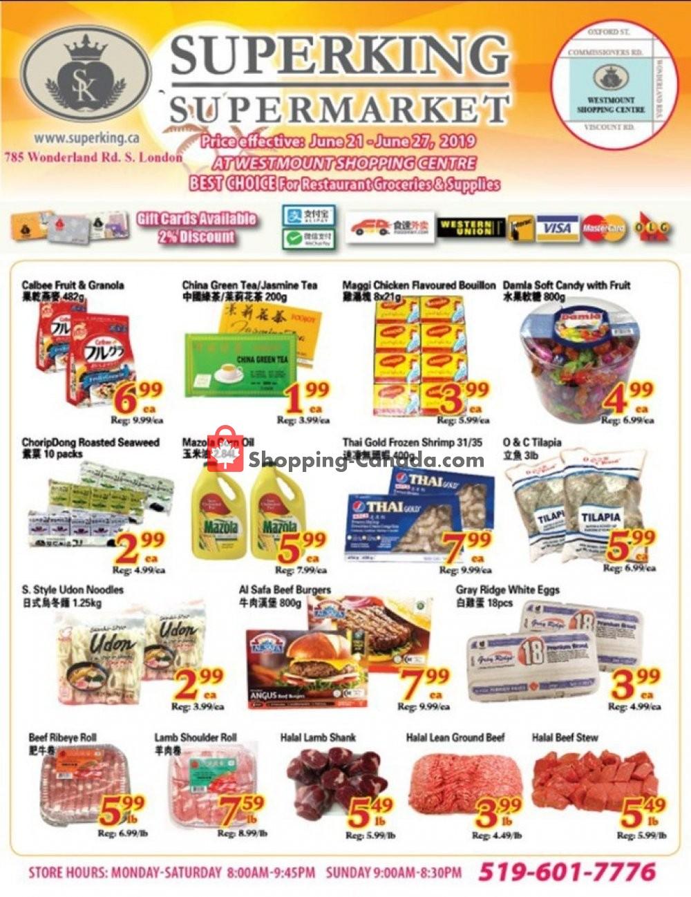 Flyer SuperKing Super Market Canada - from Friday June 21, 2019 to Thursday June 27, 2019