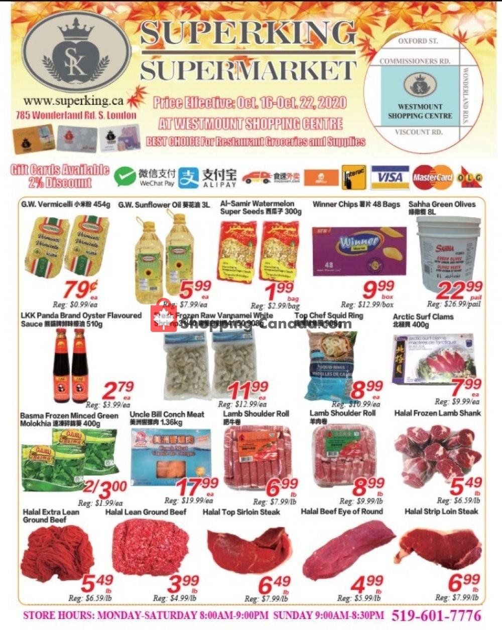 Flyer SuperKing Super Market Canada - from Friday October 16, 2020 to Thursday October 22, 2020