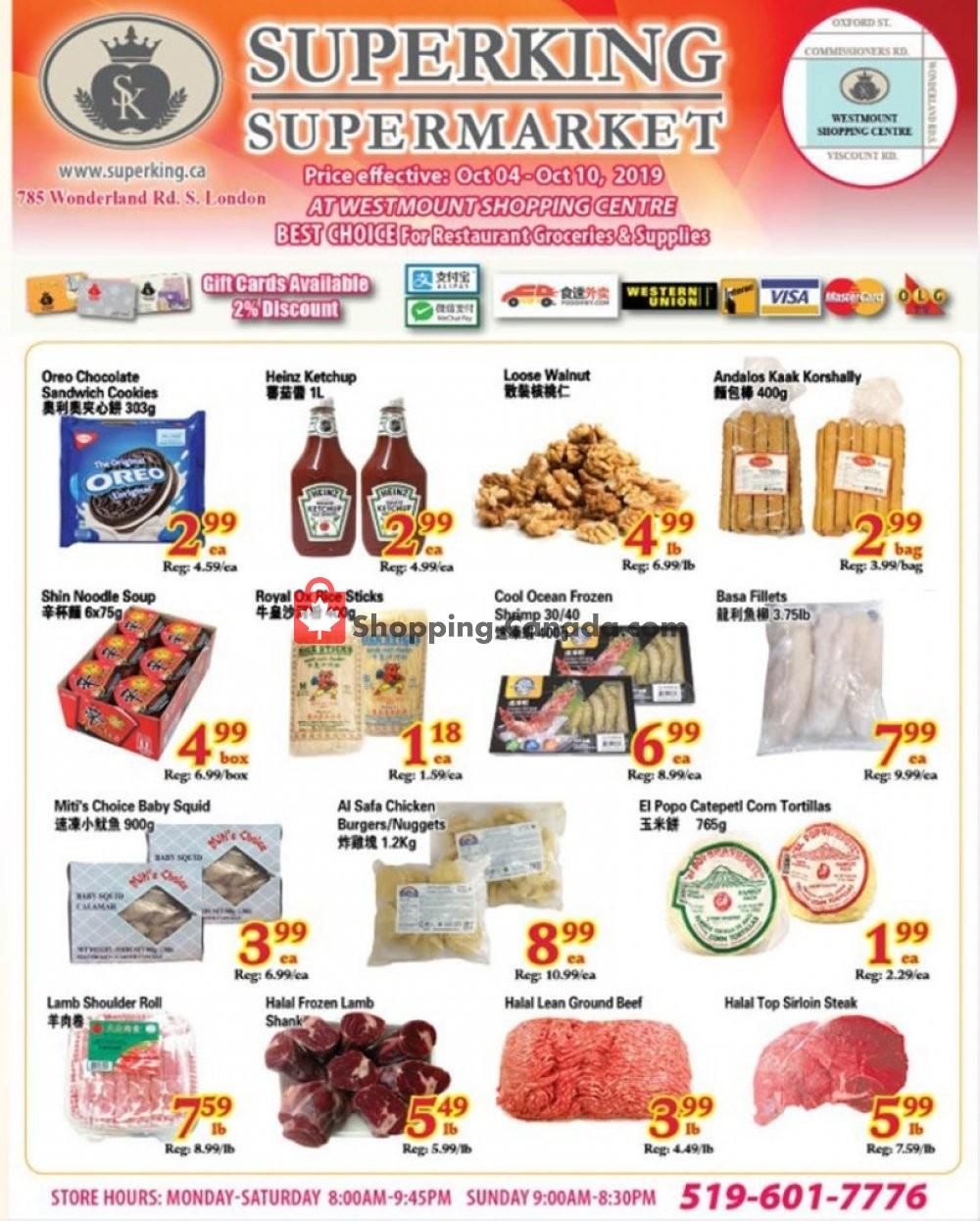 Flyer SuperKing Super Market Canada - from Friday October 4, 2019 to Thursday October 10, 2019