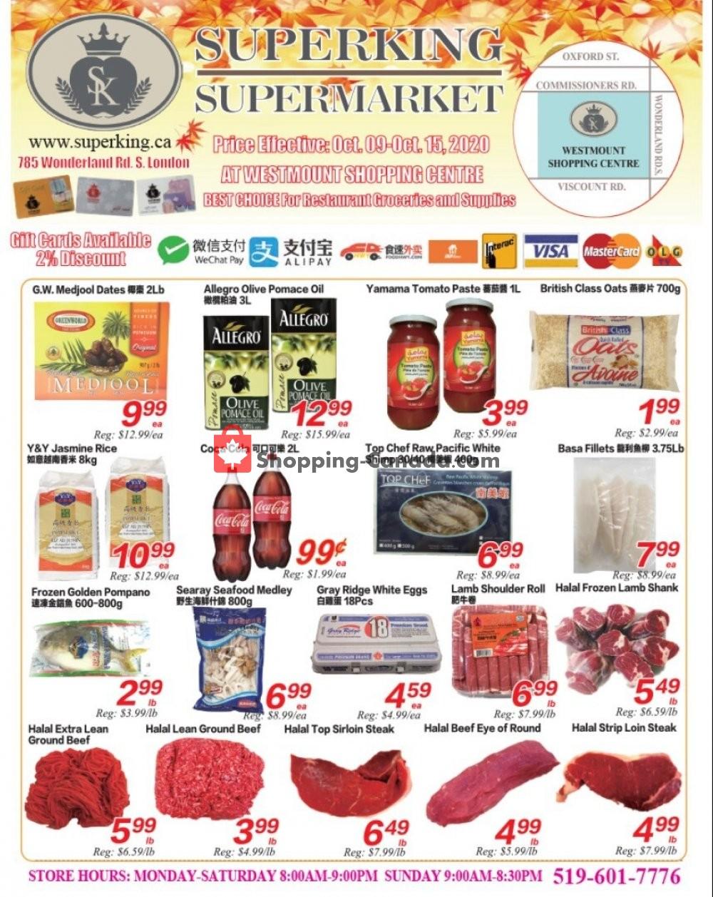 Flyer SuperKing Super Market Canada - from Friday October 9, 2020 to Thursday October 15, 2020