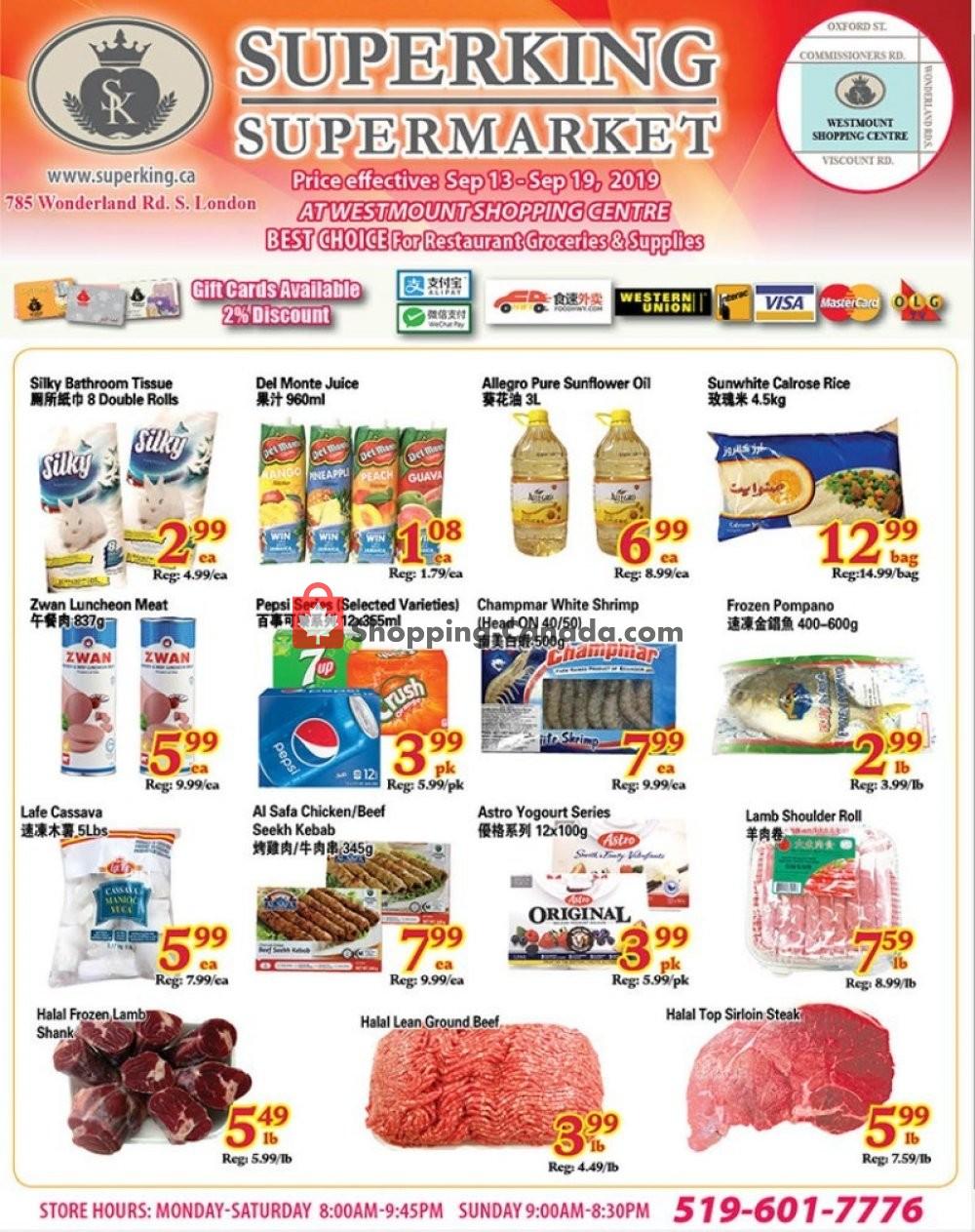 Flyer SuperKing Super Market Canada - from Friday September 13, 2019 to Thursday September 19, 2019