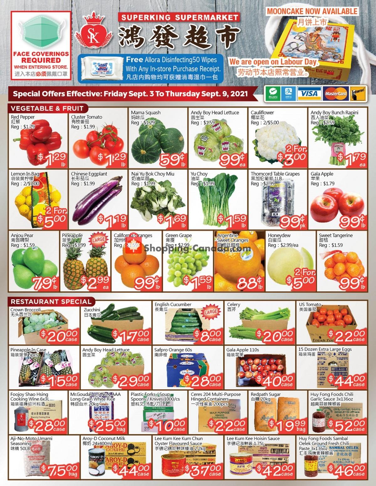 Flyer SuperKing Super Market Canada - from Friday September 3, 2021 to Thursday September 9, 2021