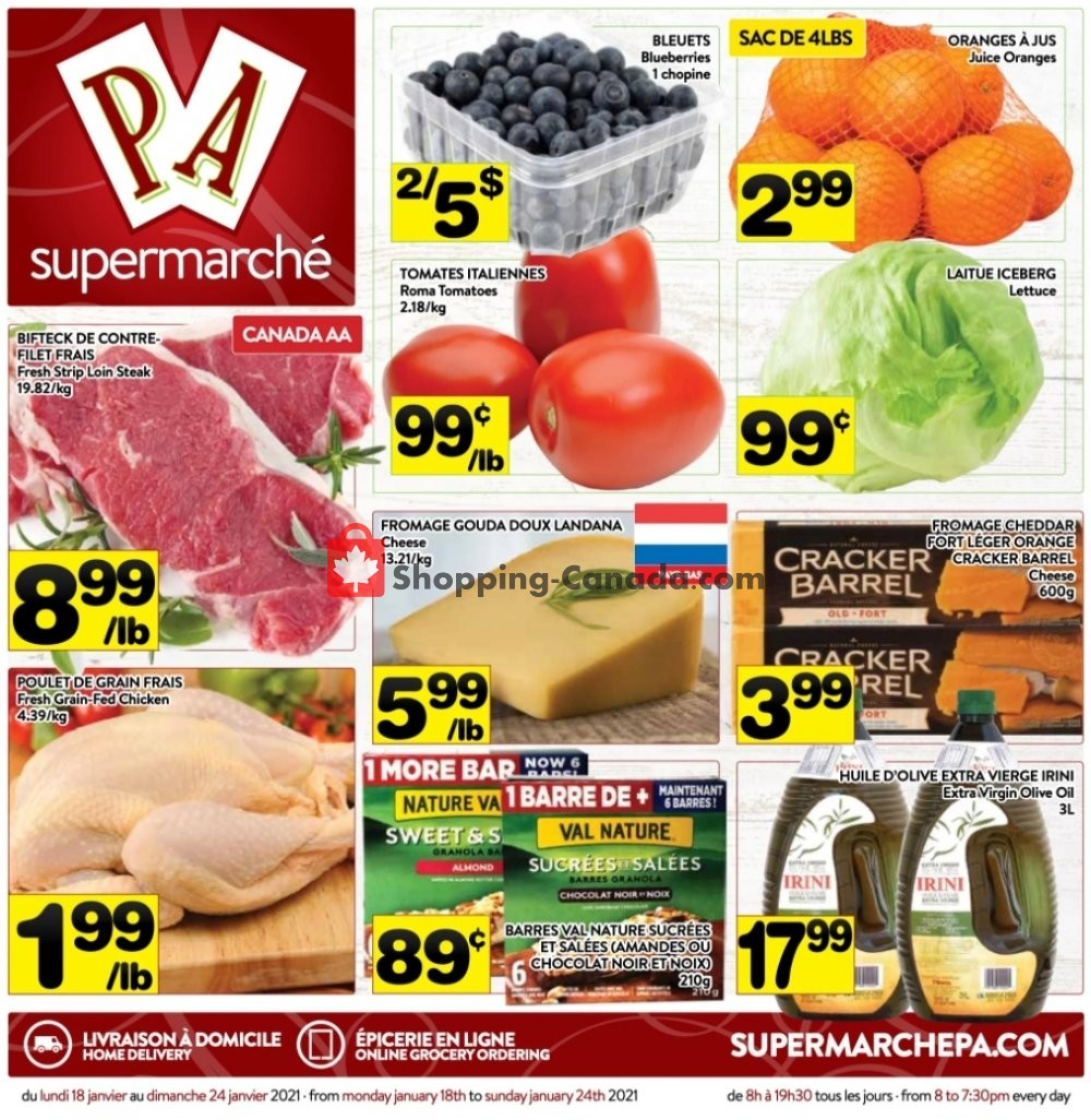 Flyer Supermarché PA Canada - from Monday January 18, 2021 to Sunday January 24, 2021