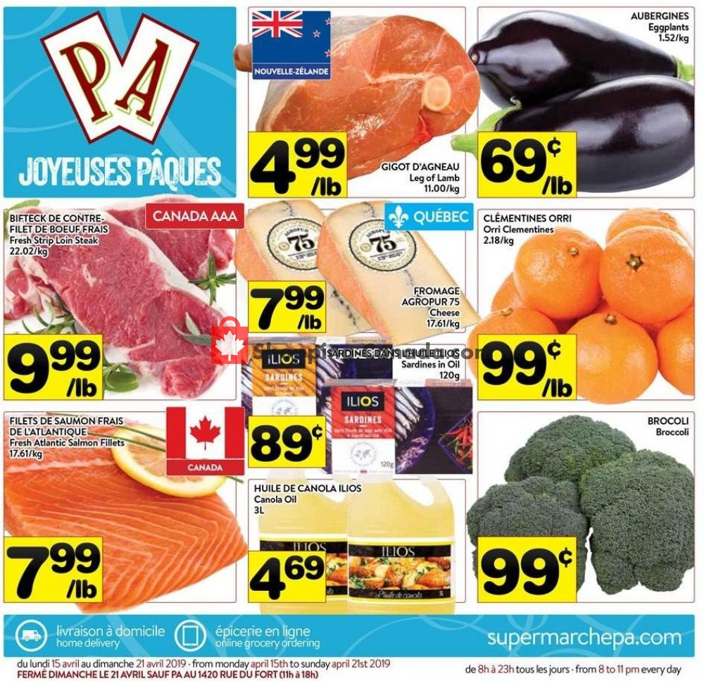 Flyer Supermarché PA Canada - from Monday April 15, 2019 to Sunday April 21, 2019